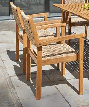 VIFAH Chesapeake Outdoor Natural 7 Piece Dining Set Golden Oak Wood Color 0 2 300x360