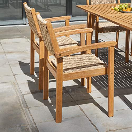 VIFAH Chesapeake Outdoor Natural 7 Piece Dining Set Golden Oak Wood Color 0 2