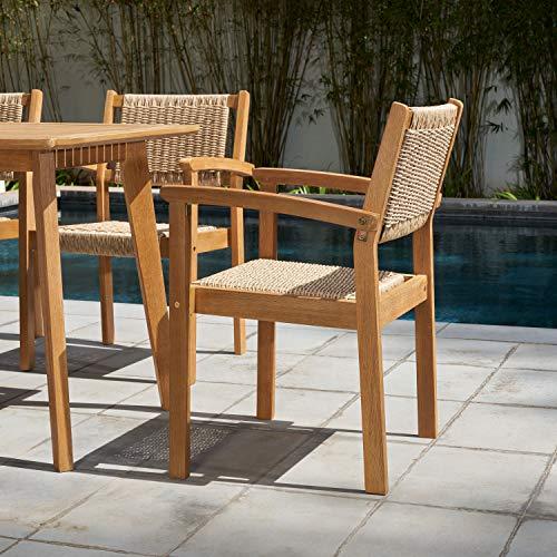 VIFAH Chesapeake Outdoor Natural 7 Piece Dining Set Golden Oak Wood Color 0 3
