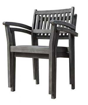 Vifah Renaissance Outdoor Patio Hand Scraped Wood 7 Piece Dining Set With Stacking Chairs 0 1 300x360
