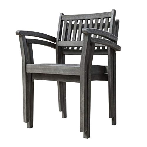 Vifah Renaissance Outdoor Patio Hand Scraped Wood 7 Piece Dining Set With Stacking Chairs 0 1