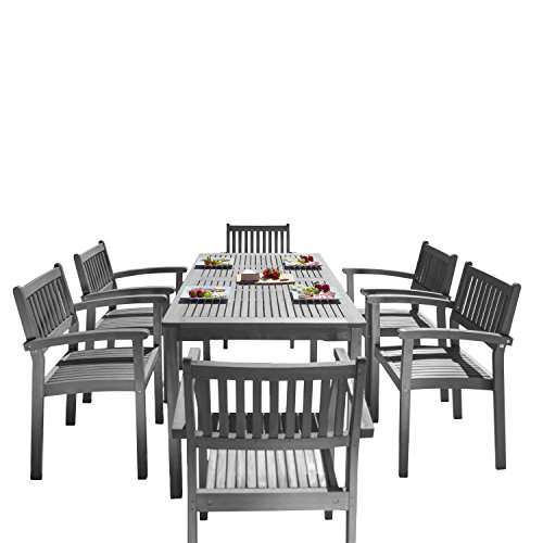 Vifah Renaissance Outdoor Patio Hand Scraped Wood 7 Piece Dining Set With Stacking Chairs 0