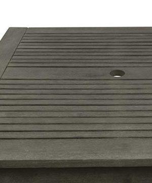 Vifah V1840SET6 Renaissance Outdoor 5 Piece Wood Patio Stacking Table Dining Set Gray 0 2 300x360