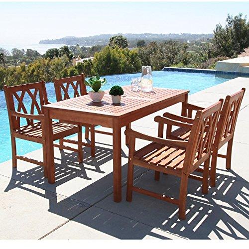 Vifah V98SET44 Malibu Outdoor 5 Piece Wood Patio Dining Set Natural 0
