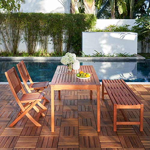 Vifah V98SET78 Radisson 4 Piece Wood Small Outdoor Dining Set With 59 Table Foldable Chairs And Backless Bench Reddish Brown 0 0