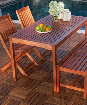 Vifah V98SET78 Radisson 4 Piece Wood Small Outdoor Dining Set With 59 Table Foldable Chairs And Backless Bench Reddish Brown 0 1 300x360