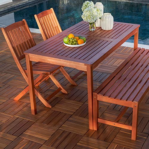 Vifah V98SET78 Radisson 4 Piece Wood Small Outdoor Dining Set With 59 Table Foldable Chairs And Backless Bench Reddish Brown 0 1