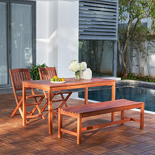 Vifah V98SET78 Radisson 4 Piece Wood Small Outdoor Dining Set With 59 Table Foldable Chairs And Backless Bench Reddish Brown 0