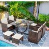 Vongrasig 9 Piece Small Patio Dining Set Outdoor Space Saving PE Wicker Dining Furniture Set Glass Patio Dining Table With Cushioned Wicker Chairs And Ottoman Sets For Lawn Garden Backyard Brown 0 100x100