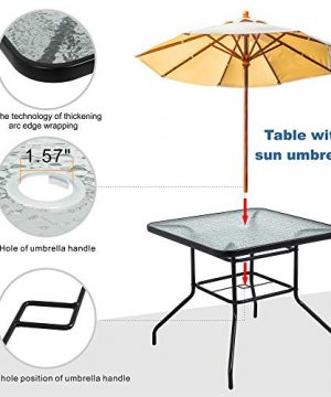 Walsunny 5 Piece Indoor Outdoor Wicker Dining Set FurnitureSquare Tempered Glass Top Table With Umbrella Hole4 Chairs BlackRed Cushions 0 2 300x360