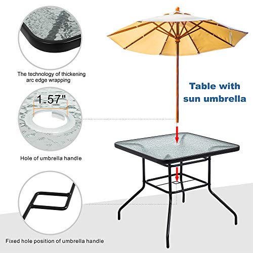 Walsunny 5 Piece Indoor Outdoor Wicker Dining Set FurnitureSquare Tempered Glass Top Table With Umbrella Hole4 Chairs BlackRed Cushions 0 2
