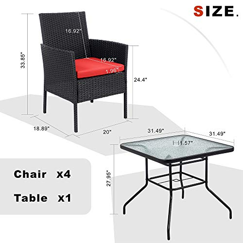 Walsunny 5 Piece Indoor Outdoor Wicker Dining Set FurnitureSquare Tempered Glass Top Table With Umbrella Hole4 Chairs BlackRed Cushions 0 3