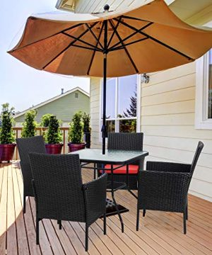 Walsunny 5 Piece Indoor Outdoor Wicker Dining Set FurnitureSquare Tempered Glass Top Table With Umbrella Hole4 Chairs BlackRed Cushions 0 4 300x360