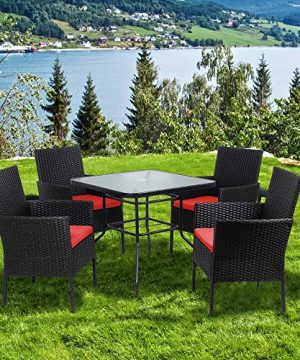 Walsunny 5 Piece Indoor Outdoor Wicker Dining Set FurnitureSquare Tempered Glass Top Table With Umbrella Hole4 Chairs BlackRed Cushions 0 5 300x360