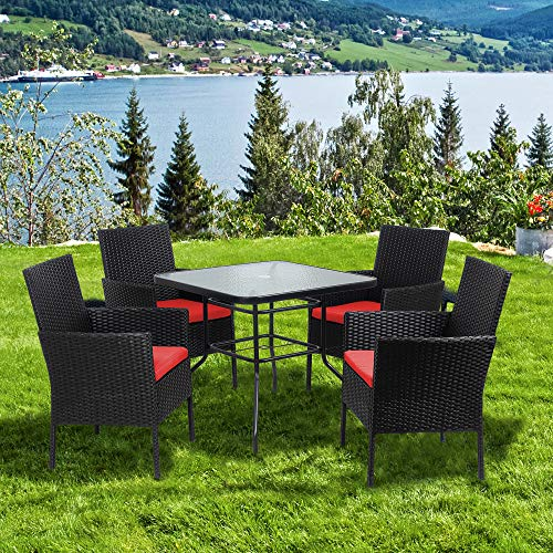 Walsunny 5 Piece Indoor Outdoor Wicker Dining Set FurnitureSquare Tempered Glass Top Table With Umbrella Hole4 Chairs BlackRed Cushions 0 5