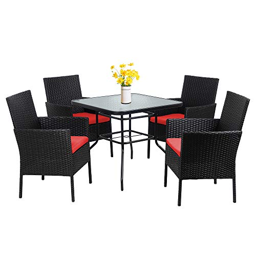 Walsunny 5 Piece Indoor Outdoor Wicker Dining Set FurnitureSquare Tempered Glass Top Table With Umbrella Hole4 Chairs BlackRed Cushions 0