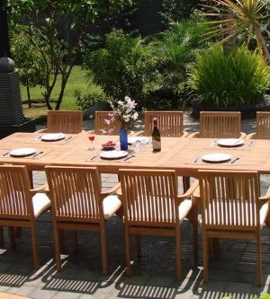 WholesaleTeak New 9 Pc Luxurious Grade A Teak Dining Set 94 Rectangle Table And 8 Lua Stacking Arm Chairs WHDSLUd 0 0 300x333