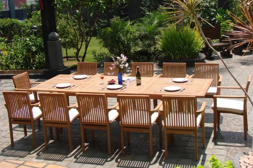 WholesaleTeak New 9 Pc Luxurious Grade A Teak Dining Set 94 Rectangle Table And 8 Lua Stacking Arm Chairs WHDSLUd 0 0