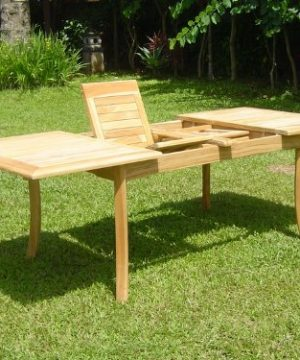 WholesaleTeak New 9 Pc Luxurious Grade A Teak Dining Set 94 Rectangle Table And 8 Lua Stacking Arm Chairs WHDSLUd 0 2 300x360