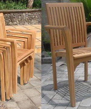 WholesaleTeak New 9 Pc Luxurious Grade A Teak Dining Set 94 Rectangle Table And 8 Lua Stacking Arm Chairs WHDSLUd 0 3 300x357