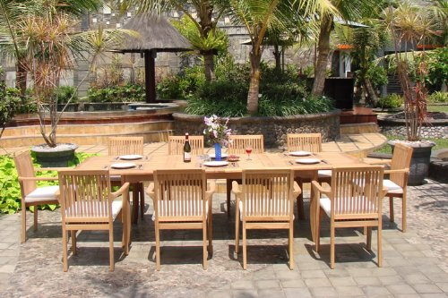 WholesaleTeak New 9 Pc Luxurious Grade A Teak Dining Set 94 Rectangle Table And 8 Lua Stacking Arm Chairs WHDSLUd 0