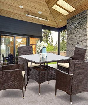 Wisteria Lane Outdoor Furniture 5 Piece Wicker Patio Dining Table And Chair SetSquare Tempered Glass Table Top With Umbrella Hole For BackyardBrown 0 0 300x360
