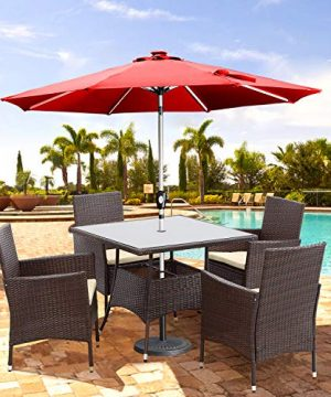 Wisteria Lane Outdoor Furniture 5 Piece Wicker Patio Dining Table And Chair SetSquare Tempered Glass Table Top With Umbrella Hole For BackyardBrown 0 1 300x360