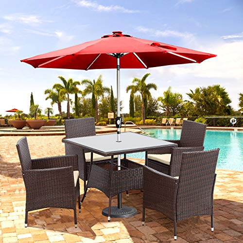 Wisteria Lane Outdoor Furniture 5 Piece Wicker Patio Dining Table And Chair SetSquare Tempered Glass Table Top With Umbrella Hole For BackyardBrown 0 1
