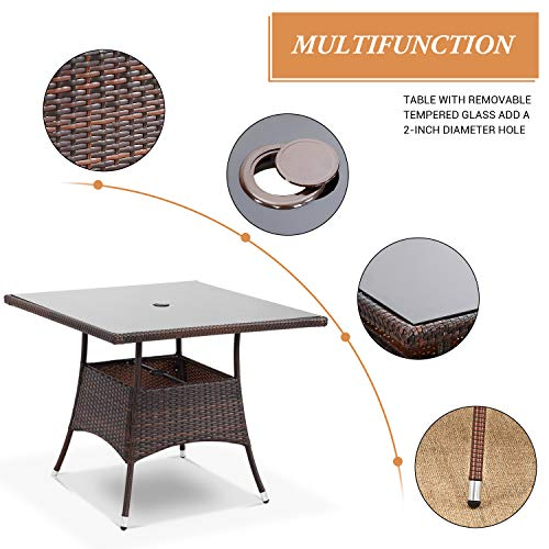 Wisteria Lane Outdoor Furniture 5 Piece Wicker Patio Dining Table And Chair SetSquare Tempered Glass Table Top With Umbrella Hole For BackyardBrown 0 2