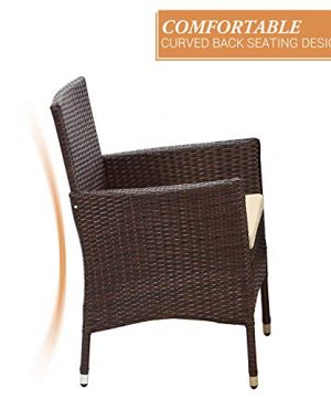 Wisteria Lane Outdoor Furniture 5 Piece Wicker Patio Dining Table And Chair SetSquare Tempered Glass Table Top With Umbrella Hole For BackyardBrown 0 3 300x360