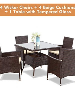 Wisteria Lane Outdoor Furniture 5 Piece Wicker Patio Dining Table And Chair SetSquare Tempered Glass Table Top With Umbrella Hole For BackyardBrown 0 4 300x360