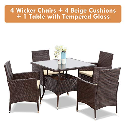 Wisteria Lane Outdoor Furniture 5 Piece Wicker Patio Dining Table And Chair SetSquare Tempered Glass Table Top With Umbrella Hole For BackyardBrown 0 4