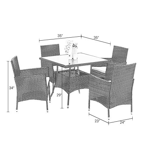 Wisteria Lane Outdoor Furniture 5 Piece Wicker Patio Dining Table And Chair SetSquare Tempered Glass Table Top With Umbrella Hole For BackyardBrown 0 5