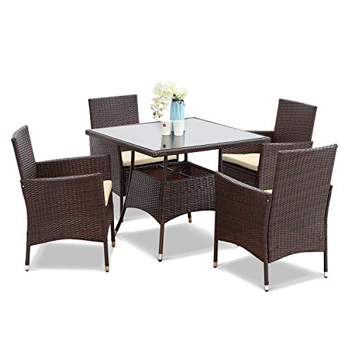 Wisteria Lane Outdoor Furniture 5 Piece Wicker Patio Dining Table And Chair SetSquare Tempered Glass Table Top With Umbrella Hole For BackyardBrown 0
