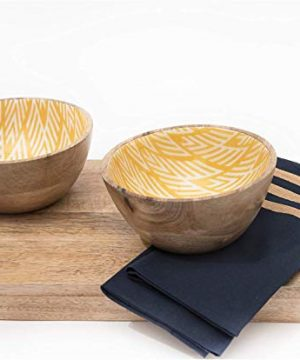 Wooden Bowls For Food Or Salad Bowls Set Small Bowl For Serving Pasta And Cereal Set Of 2 Wood Bowl 6 Inch By 3 Inch Mango Wood Yellow Ikkat 0 0 300x360