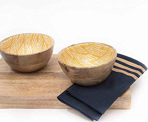 Wooden Bowls For Food Or Salad Bowls Set Small Bowl For Serving Pasta And Cereal Set Of 2 Wood Bowl 6 Inch By 3 Inch Mango Wood Yellow Ikkat 0 0