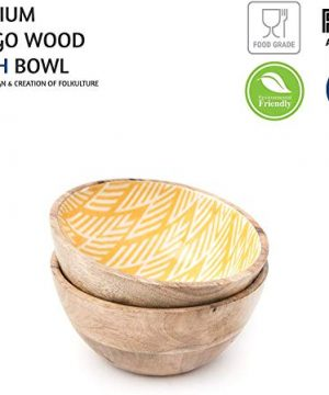 Wooden Bowls For Food Or Salad Bowls Set Small Bowl For Serving Pasta And Cereal Set Of 2 Wood Bowl 6 Inch By 3 Inch Mango Wood Yellow Ikkat 0 1 300x360