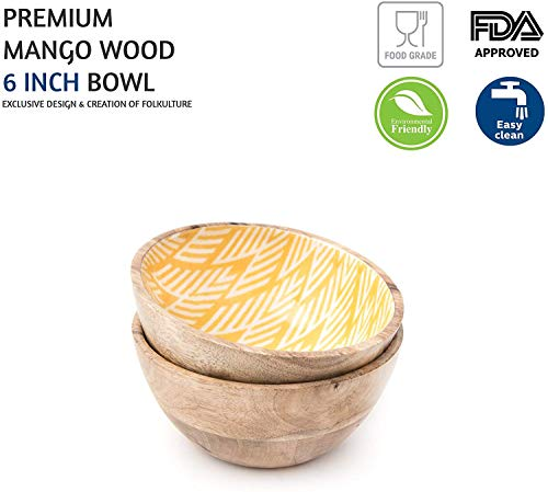 Wooden Bowls For Food Or Salad Bowls Set Small Bowl For Serving Pasta And Cereal Set Of 2 Wood Bowl 6 Inch By 3 Inch Mango Wood Yellow Ikkat 0 1