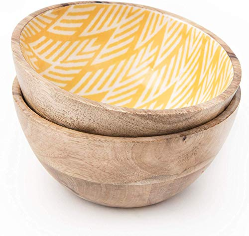 Wooden Bowls For Food Or Salad Bowls Set Small Bowl For Serving Pasta And Cereal Set Of 2 Wood Bowl 6 Inch By 3 Inch Mango Wood Yellow Ikkat 0