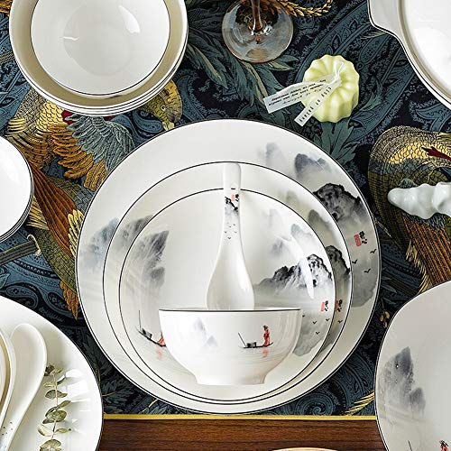 XLNB 60 Piece Dinnerware Set Antiquity Chinese Style Porcelain Set Dinner Dishes Set PlatesBowlsSpoons And Soup Pot Service For 12 0 1