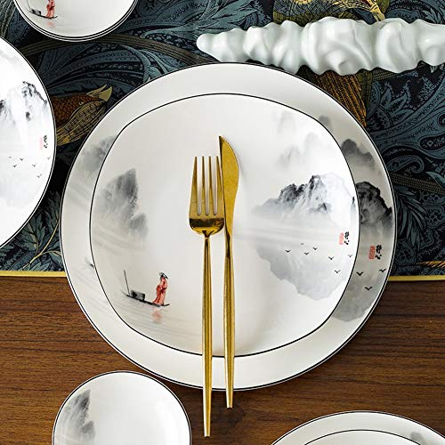 XLNB 60 Piece Dinnerware Set Antiquity Chinese Style Porcelain Set Dinner Dishes Set PlatesBowlsSpoons And Soup Pot Service For 12 0 4