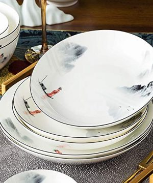 XLNB 60 Piece Dinnerware Set Antiquity Chinese Style Porcelain Set Dinner Dishes Set PlatesBowlsSpoons And Soup Pot Service For 12 0 5 300x360