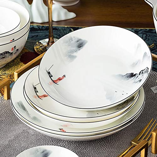 XLNB 60 Piece Dinnerware Set Antiquity Chinese Style Porcelain Set Dinner Dishes Set PlatesBowlsSpoons And Soup Pot Service For 12 0 5
