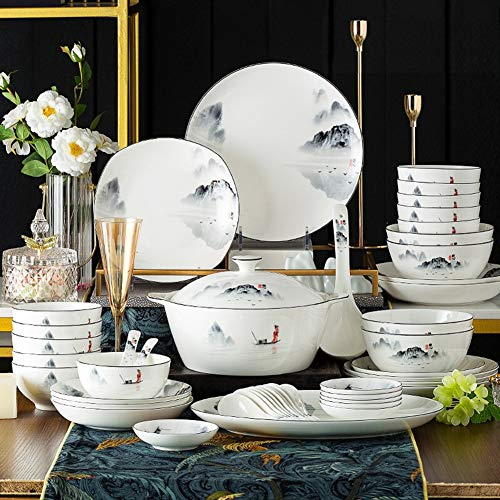 XLNB 60 Piece Dinnerware Set Antiquity Chinese Style Porcelain Set Dinner Dishes Set PlatesBowlsSpoons And Soup Pot Service For 12 0