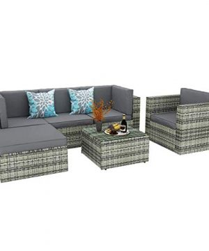 YITAHOME 6 Piece Outdoor Patio Furniture Sets All Weather Wicker Sectional Sofa Patio Conversation Set With Ottoman Coffee Table And Cushions Gray Gradient 0 0 300x360