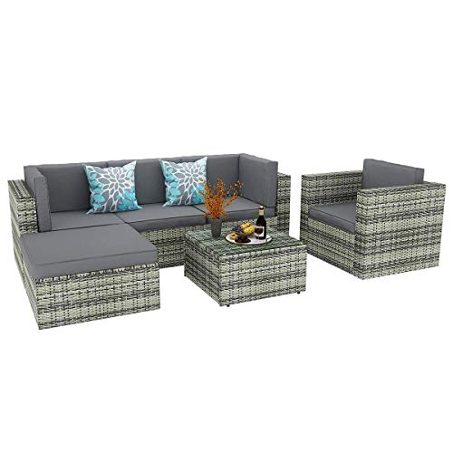 YITAHOME 6 Piece Outdoor Patio Furniture Sets All Weather Wicker Sectional Sofa Patio Conversation Set With Ottoman Coffee Table And Cushions Gray Gradient 0 0