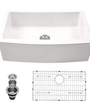30 Farmhouse Sink White Kichae 30 Inch Kitchen Sink Apron Front White Ceramic Porcelain Fireclay Single Bowl Farmer Sink 0 300x360