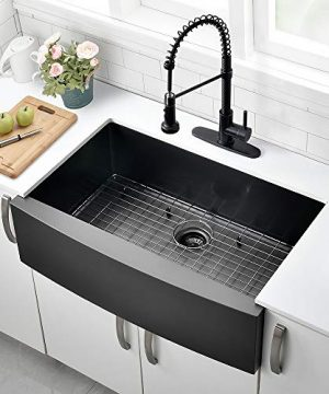 30 Inch Black Farmhouse Sink VOKIM Apron Curved Front Kitchen Sink Single Bowl Gunmetal Matte Black 16 Gauge Stainless Steel Deep Kitchen Farm Sink 0 0 300x360