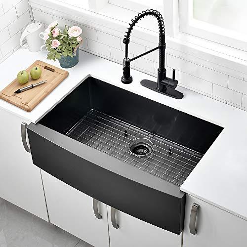30 Inch Black Farmhouse Sink VOKIM Apron Curved Front Kitchen Sink Single Bowl Gunmetal Matte Black 16 Gauge Stainless Steel Deep Kitchen Farm Sink 0 0