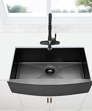 30 Inch Black Farmhouse Sink VOKIM Apron Curved Front Kitchen Sink Single Bowl Gunmetal Matte Black 16 Gauge Stainless Steel Deep Kitchen Farm Sink 0 1 300x360